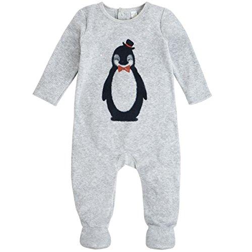 Petit Lem Baby Boys' Penguin Velour Footie, Holiday, New Born (Baby Boy Penguin New)