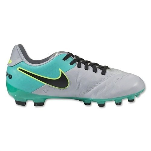 Nike Kid's Jr. Tiempo Legend VI FG Soccer Cleat (Sz. 1.5Y) Wolf Grey, Clear Jade
