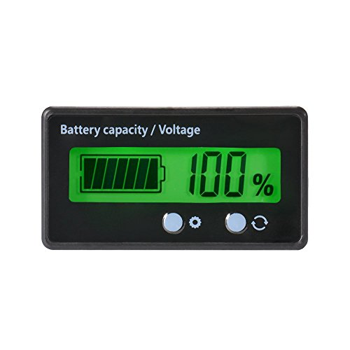 - LCD Battery Capacity Monitor Gauge Meter,Waterproof 12V/24V/36V/48V Lead Acid Battery Status Indicator,Lithium Battery Capacity Tester Voltage Meter Monitor Green Backlight for Vehicle Battery