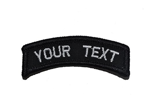 (Customizable Text Tab Patch w/Hook Fastener Morale Patch - Black)
