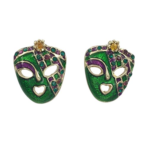 Mardi Gras Jester Mask Purple Green Yellow with Rhinestones Painted Earrings (Gold Tone)