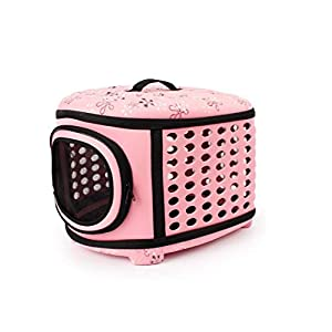 SRI Travel Fold Able Pet Carrier Bag for Cat and Puppy, Pink (Small)
