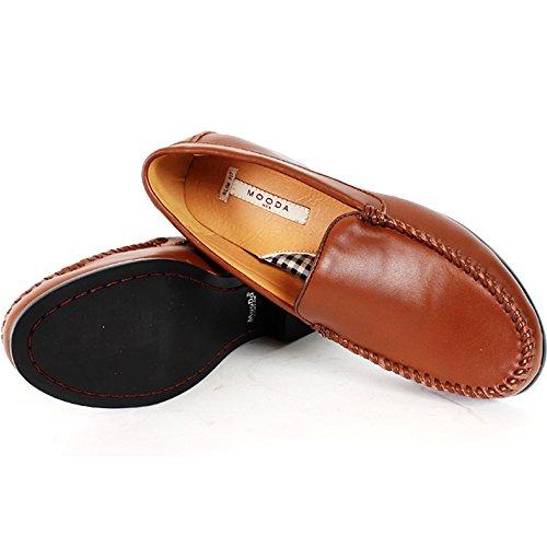 Nya Man Tillfälliga Klänning Läderskor Loafers Halka På Deluxe Formell Brun