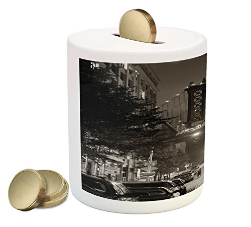 Lunarable Urban Piggy Bank, Manhattan Bridge from Street at Night Downtown New York States United States Photo, Printed Ceramic Coin Bank Money Box for Cash Saving, Army Green