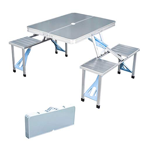 Folding Picnic Table and Beach Set, Siamese Tables and Chairs Set, Aluminum Alloy Portable Desk with 4 Seats for Indoor Outdoor Travel, Camping.Hole for Parasol, Foldable with Handle