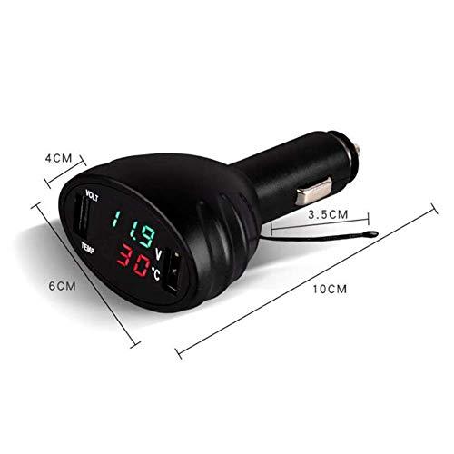 Lispeed Misuratore di Temperatura del Monitor della Batteria del Caricatore USB Doppio del termometro per Auto LED Digitale Verde