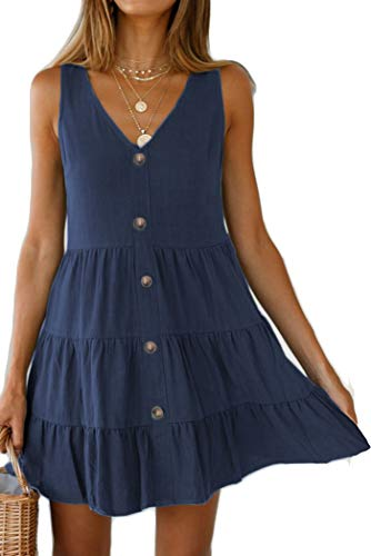 Halife Summer Swing Dresses for Women Petite Cute Layered Tiered Sundress with Buttons Dark Blue S