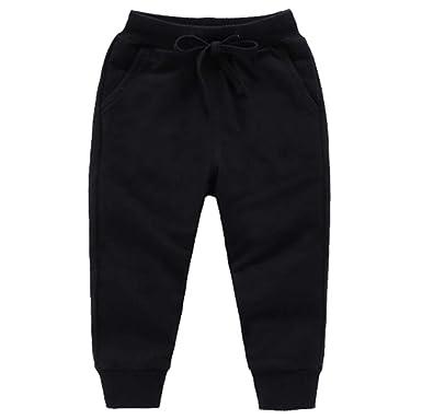4c69668f Bfsports Unisex Kids Solid Cotton Drawstring Waist Pants Toddler Baby  Active Sweatpants Black 100cm