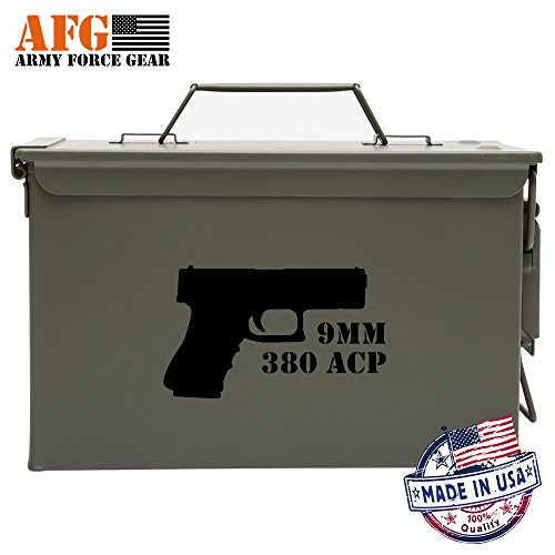 9mm 380 ACP Hand Gun Ammo Can Decal 2 Pack,Ammo Can NOT Included, Black