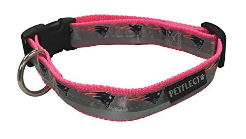 New England Patriots Dog Collar - Reflective - Nylon - Super Strength - NFL Team Logos - AZN Large Pink