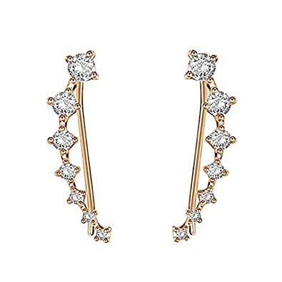 88c546293 Amazon.com: Ear Crawler Earrings - Fashion Stainless Steel CZ Ear Crawlers  Climbers - Women Sweep Up Hoop Ear Cuff Pin Vine Wrap Studs Earrings - 7  Stars ...