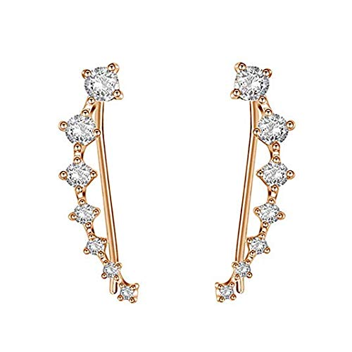 Ear Crawler Earrings - Fashion Stainless Steel CZ Ear Crawlers Climbers - Women Sweep Up Hoop Ear Cuff Pin Vine Wrap Studs Earrings - 7 Stars Cubic Zirconia Crystal Clip On Stud Jewelry with Fish Hook