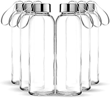 Chef's Star 6 Pack 18oz Stainless Steel Leak Proof Caps Glass Water Bottle