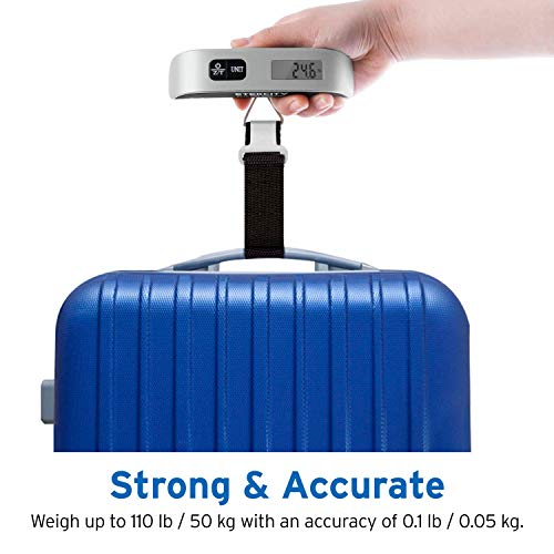 Etekcity Digital Hanging Luggage Scale, Portable Handheld Baggage Scale for Travel, Suitcase Scale with Rubber Paint, Temperature Sensor, 110 Pounds, Battery Included