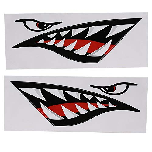 VGEBY 2 Pcs Shark Teeth Mouth Sticker, DIY Car Funny Decals Shark Sticker for Car Canoe Kayak Surfboard Boat Truck ()