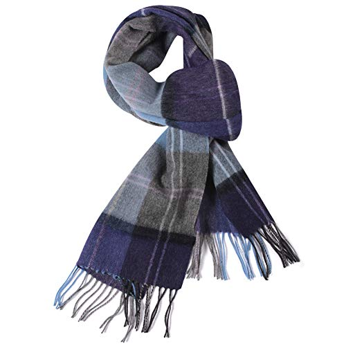 WAMSOFT Winter Fashion Scarves, Men Women 100% Wool Cashmere Feel Extra Long Thick Tartan Plaid Checked Neckwear Scarves, Dark Blue