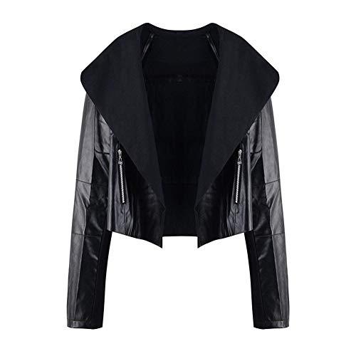 Powlance Jackets for Women Leather Autumn Retro Short Zipper Pockets Casual Outerwear Black