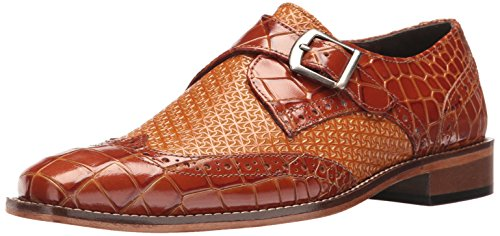 Stacy Adams Men's Giannino-Monk Strap Wingtip Slip-on Loafer, Tan, 9 M US