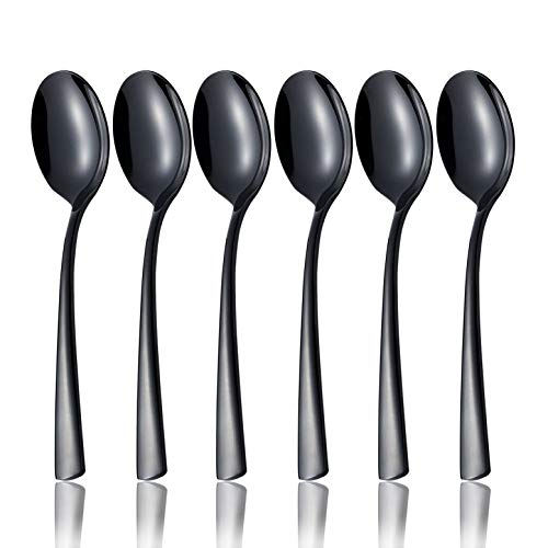OMGard Black Teaspoon Set, 6 Piece 18/10 Stainless Steel Flatware Bulk 6.7-inch Small Dessert Tea Spoons Only Service for 6 Table Silverware Sets Eating Utensils Cutlery Dishwasher Safe