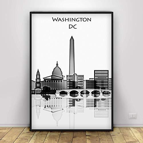 Washington D.C. Skyline Print, Black White Watercolor Artwork Poster of Washington City, Washington Skyline Living Room Hangings Decor Ideas. Unframed print