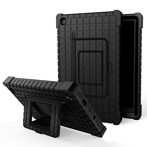 Amazon Fire 7 Shockproof Kids Tablet Case Stand, Silicone Protective Cover with Lightweight Square Pattern Kids for Amazon Kindle Fire 7 (7th Generation 2017 Release), Black