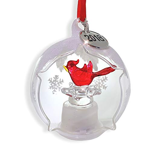 Dated Lighted Christmas Ornament - 2018 Charm with Xmas Cardinal Ornament -Open Front - Red Cardinal Glass Figurine Inside- Hand Painted Glittery Snow Outside - LED Lighted Color-Changing- 3 1/2 inch