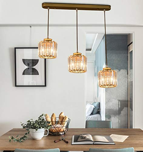 Chandelier Living Room Dining Room Ceiling Lamp, Os 85cm. Pendant Lamp Crystal Lamp Dining Table Lamp Hanging Adjustable Hanging Pendant Hanging Lamp 3-Fluted Round Crystal Pendant