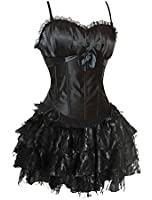 Kranchungel Sexy Party Waist Cincher Straps Padded Corset with Skirt Set