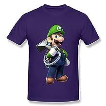 WENYU Men's Luigis Mansion Cartoon T-shirt Size XXL Purple Tee