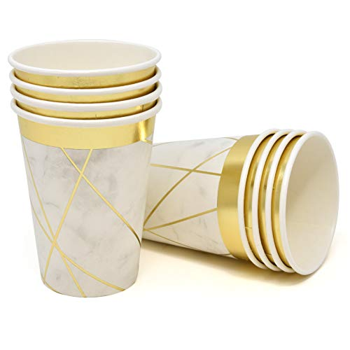 Marble Party Paper Cups 9 Oz Elegant Disposable Beverage Drink Cup 50 Pack Gold Foil with White Grey Marbleized Design for Wedding Birthday Engagement Bridal Baby Shower Tableware Decor Gift Boutique
