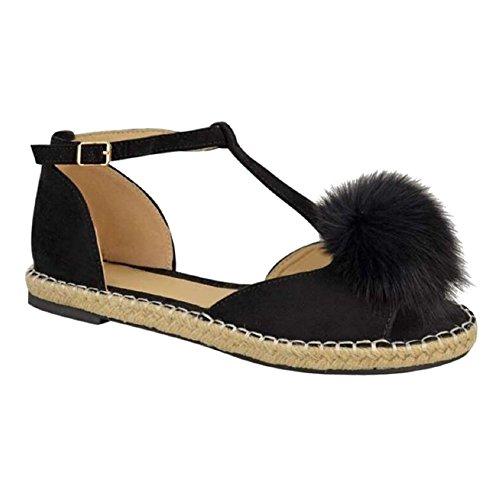 Sandales Dames Pom Hibote Escarpins Peeptoe Chaussures Femmes T Noir Espadrilles Plat Bar Pom 5XXwvaq