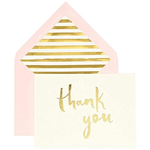 kate spade new york bridal note card set thank you gold