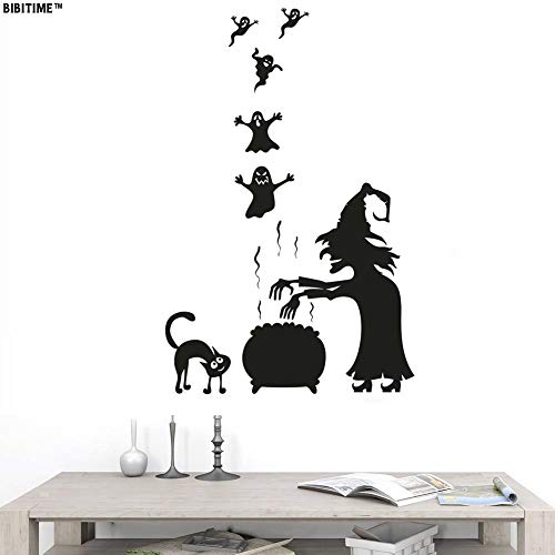 Magic Cooking Soup 5 Ghosts Cute Black Cat Halloween Wall Decals Vinyl Stickers for Living Room Porch Front Door Shop Store Window Sticker Nursery Children Kids Room Holiday Theme ()