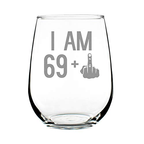 69 + One Middle Finger | 70th Birthday Stemless Wine Glass for Women & Men | Cute Funny Wine Gift Idea | Unique Personalized Bday Glasses for Mom, Dad, Friend Turning 70 | Drinking Party Decoration