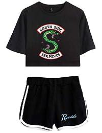 Eudolah Girls' Riverdale Crop Top T-Shirts and Shorts Suit Printed Southside Serpents Clothes Set