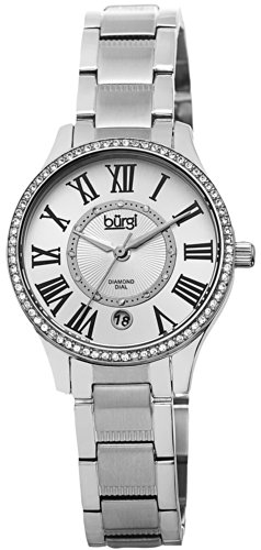 Burgi Women's BUR090SS Diamond Dial Silver-tone Stainless Steel Bracelet Watch