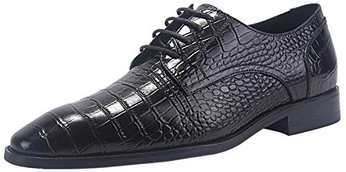 - ELANROMAN Oxfords Shoes Men Dress Shoes Black Handcrafted Crocodile Pattern Genuine Leather Formal Lace up Brogue Dress Shoes for Men US 14 EUR 47 Foot Length 333.3mm