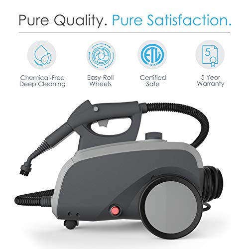 Pure Enrichment PureClean XL Rolling Steam Cleaner - 1500-Watt Multi-Purpose Household Steam Cleaning System - 18 Accessories Deep Cleaning Floors, Windows, BBQ Grills, Ovens, Vehicles More
