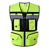 JKSafety 10 Pockets Class 2 High Visible Reflective Safety Vest Zipper Front Large Back Pockets Breathable and Mesh Lining (X-Large, Yellow Black)