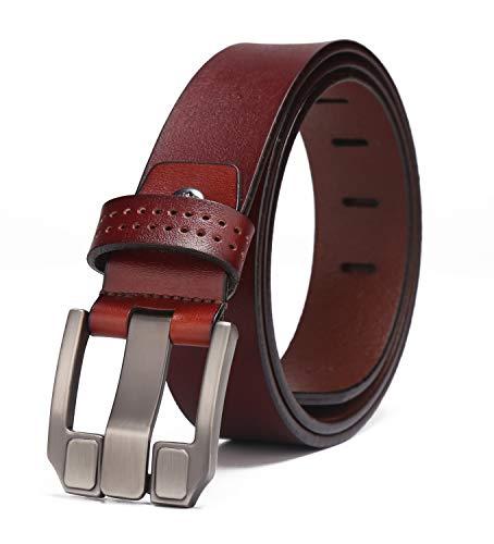 Buckle Denim - BISON DENIM Belt for Men Genuine Leather Casual Buckle Belt for Jeans Dress Fashion&Cool (Red-71018-1Z, 125(waist size:40.5'' to 43''))