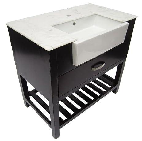 ALFI Brand AB36DR DW 36 Inch Single Farm Sink Bath Vanity With A Drawer