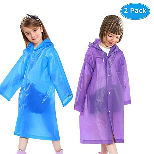 Sunba Youth Rain Ponch, Reusable Kids Rain Poncho,Emergency Waterproof Raincoat with Hoods and Sleeves,Durable, Portable and Perfect for Outdoor Activities
