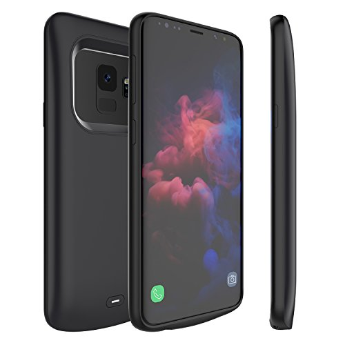 Galaxy S9 Battery Case, External 4700mAh Portable Backup Charger Pack with Soft TPU and Full Edge Protection Type C Extended Power Bank Charging Case for Samsung Galaxy S9(Not for S9 Plus) (Black)