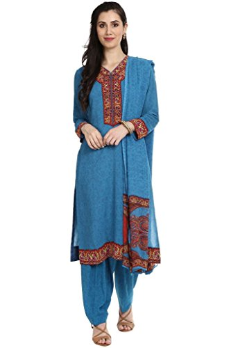 BIBA Women's Straight Polyster Suit Set 46 Blue (Salwar Suit Blue)