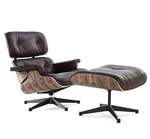 OCC Genuine Italian leather Lounge Chair with Ottoman - Dark