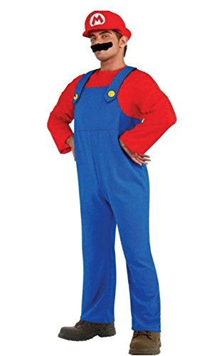 Endless Road 988228 Mario Costume Adult Teen Small Small Mens 34-36 Chest Blue