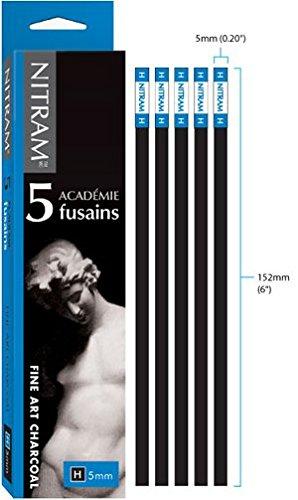 Nitram Academie Charcoal H Hard 5 Sticks,Black,5 mm