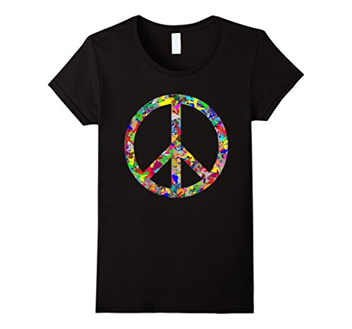 Womens Peace Sign T-Shirt XL Black (Peace Womens Tee)