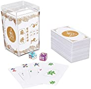 Chinese Mahjong Cards Deluxe Set 150 Playing Cards with 2 Random Color Dice and 1 Storage Box, Best Gift for M
