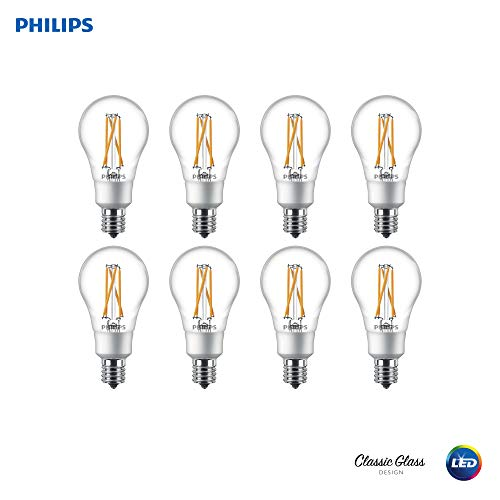 Philips 536599 LED Dimmable A15 Clear Filament Glass Light Bulb with Warm Glow Effect: 350-Lumens, 2700-2200 Kelvin, 4.5 (40-Watt Equivalent), Soft White, E17 Intermediate Base, 8 Pack, Piece